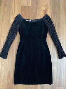 LANVIN RARE Vintage Retro Black Velvet Lace Long Sleeve Stretch Sheath Dress 42