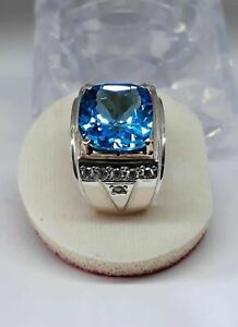 Natural Blue Topaz Gemstone Real Diamond 18K White Gold Men's Ring #21336