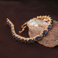 Vintage 24k Gold Filled CLear & Blue Sapphire Rhinestone Chain Bracelet Bangle