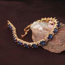 Vintage 24k Gold Filled CLear & Blue Sapphire Rhinestone Chain Bracelet Bangle