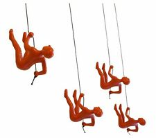 ORANGE # 2 Climbing man wall art x 4 pcs !. Bigger. Heavier. Exclusive! decor