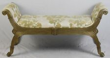 Marge Carson Bench Ottaman Gold Gilt Reeded Frame &  Paw Feet Florial Fabric