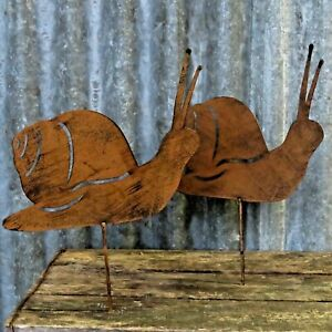 Pair Of Metal Rusty Effect Snails For Lawn, Borders Or Pots