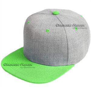 Baseball Cap Snapback Adjustable Hat Plain Blank Solid Hip Hop Flat Bill Men