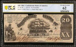 1861 $20 DOLLAR CONFEDERATE STATES CURRENCY CIVIL WAR NOTE MONEY T-18 PCGS 62