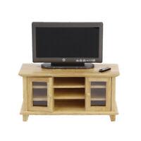 1/12 Dollhouse Miniature Furniture Wooden TV Cabinet & Television Set