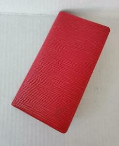 Louis Vuitton RED Bifold Wallet Checkbook Porte Cartes Credit Epi Leather
