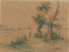 Südliche Landschaft mit Dorf und Bergen im Hintergrund, um 1860