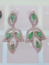 GREEN EMERALD  EARRINGS 925 Sterling Silver with Crystals. PIERCED