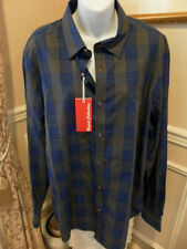 Report Collection Blue/Black LS Shirt W/contrasting cuff trim  NEW