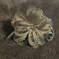 Vintage silver tone Spanish flower floral brooch pin costume jewellery jewelry