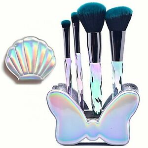 Makeup Brush Set Foundation Blush Eye Lip Cosmetic Brushes Holder Compact Mirror