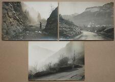 3 PHOTOS ANCIENNES - ELARGISSEMENT ROUTE ANNEMASSE SIXT -1929 / 30 haute savoie