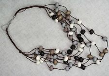 "Necklace 14"" Multi-Strand Layered Natural Wood Bead Black Grey Bone Brown"