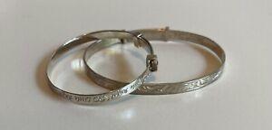 Silver 925 Small Childs Bracelets Adjustable 10.6 grams Christening Gift P37J19