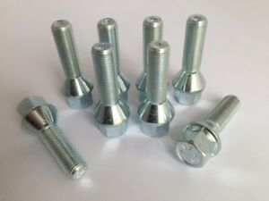 M14 x 1.5, 35mm thread, tapered seat alloy wheel bolts. (Set of 8)