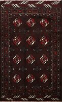 Tribal Balouch Hand-knotted Area Rug Geometric Oriental Wool Foyer Carpet 3'x4'