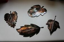 METAL WALL ART LEAFS (4) COPPER/BRONZE PLATED BY HGMW