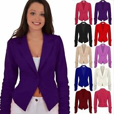 Ladies Celeb Ruched Sleeve Button Up Tailored Fitted Smart Office Jacket Blazer