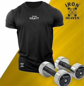 Train Heavy T Shirt Small Gym Clothing Bodybuilding Training Workout MMA Men Top