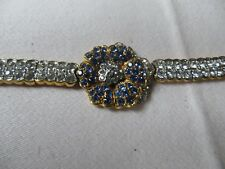 Tanzanite blue/,goldtone,floral bracelet,/8 insx 1 ins diameterx0.2insH/boxed