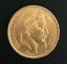 Très belle pièce or 20 francs Napoléon III tête laurée 1863 BB
