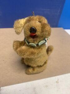 Vintage Wind Up Tin Ball Balancing Brown Fur Dog Toy Japan
