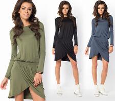 Ladies Party Evening Fashionable Sexy Asymmetrical Long Sleeve Mini Dress FM36
