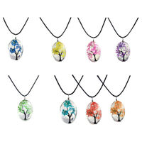 Jewelry Real Dried Flower Necklace Tree Shaped Rope Glass Long Pendant Neck S2E3