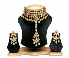 Indian Traditional Kundan Yellow Pearl Choker Necklace Earrings Tikka Set Women