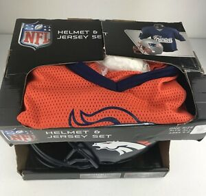 NFL Denver Broncos Deluxe Youth Football Helmet and Jersey Set Costume Ages 5-9