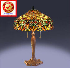 Tiffany Style Table Lamp - Classic Vintage Look Handcrafted Stained Cut Glass