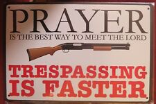 trespassing is faster tin metal sign MAN CAVE brand new 20 by 30 cm