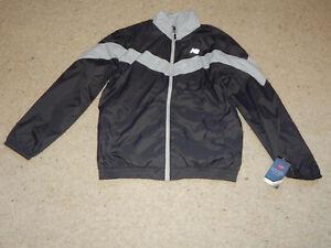 New Balance Light Weight Windbreaker Running Jacket Size L Black Grey Reflective