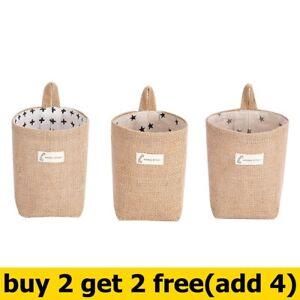 Cottons and linen Desktop Storage Wall-mounted Hanging Bags Jute Storage Basket