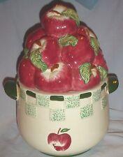 "BASKET OF APPLES COOKIE JAR RED GREEN WHITE KITCHEN DECOR/ BICO CHINA 11.5"""
