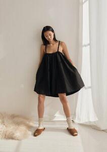 DEIJI STUDIOS Skirt Dress Black Poplin NEW sleepwear loungewear lagarconne