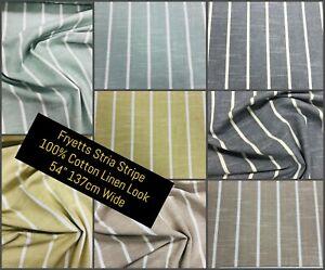 Fryetts Stria - Striped 100% Pure Natural Cotton Fabric Material - 137cm 54 Wide