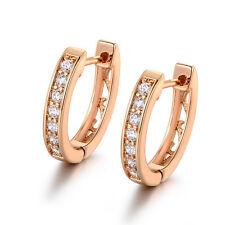 HUCHE Elegant 18K Yellow Gold Filled Hoop Diamond Crystal Women Banquet Earrings