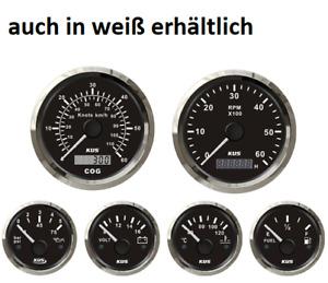 KUS Bootsinstrumente Komplett-Set / 6-tlg Instrumentenset EU-Norm Motoranzeigen