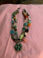Estate Vintage Southwestern Multi Color Necklace 925 Turquoise Flower Pendant