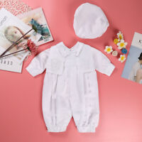 Baby Boy Christening Baptism Formal Suit 3 pieces Outfit Newborn Boys Romper+Hat