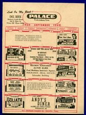 Fredericksburg Texas tx Palace Theater 87 Drive in Move Flyer September 1960