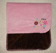 Koala Baby Pink & Brown Blanket Bird Flower Chirp Chirp Soft Stitched Edge