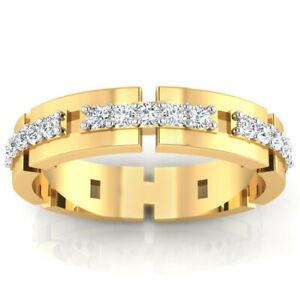 0.33 Ct Natural Diamond Mens Engagement Band 18K Solid Yellow Gold Ring Size 10