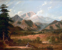 Colorado Rocky Mountains Pikes Peak Landscape Painting Real Canvas Art Print New