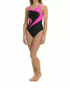 TYR Alliance T-Splice Maxback Womens Swimsuit Maxfit Size 32 Pink Black $70 NEW