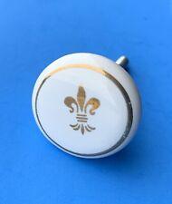 French Provin MCM Modern Antique Ceramic Porcelain Gilt Cabinet Knob Drawer Pull