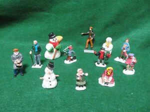 "Vintage painted metal 1800's Dickens type 2 1/4"" civilian figures X9 + 3 snowmen"