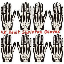 4X ADULT HALLOWEEN SKELETON GLOVES  BONE PRINT ZOMBIE HORROR COSTUME ACCESSORY